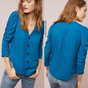 HTF NWT ANTHROPOLOGIE Rhombus Ruched Sleeves Top